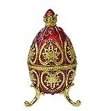 OMKMNOE Artigianato Metallico dell'uovo di Pasqua, Scatola Artificiale Dipinta a Mano smaltato Scatola di Gioielli dell'uovo per collane Braccialetto Gioielli Pezzo di Gioielli Paesaggio,Rosso