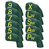 Big Teeth Iron Covers Set Green 11Pcs Headcovers for Golf Clubs Numbers on Both Sides for RH and Left Handed Golfer Long Neck PU Leather Golf Accessories