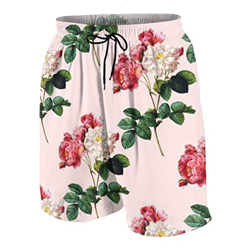 WoodWorths Vintage Rose Wallpaper(2) Junior Boys Youth Swimming Trunks Briefs Shorts(14-16 Years,White)