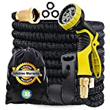 J&B XpandaHose 75ft Expandable Water Garden Hose with Holder - Heavy Duty Triple Layered Latex Core and Free 10 Spray Nozzle with Storage Bag (Black, 75) (75, Black)