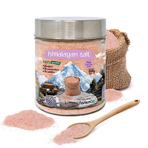 Nortembio Sal Rosa del Himalaya 800 g. Extrafina (0,5-1 mm). 100% Natural. Sin Refinar. Sin Conservantes. Extraída a Mano.