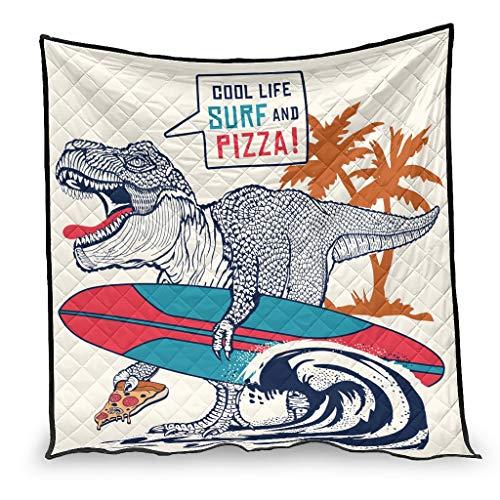 shenminqi Edredón fresco de la vida surf y pizza dinosaurio agradable al tacto, manta transpirable para sofá cama sala de estar blanco 100 x 150 cm