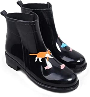 Ankle Rain Boots for Women Slip-on Cartoon Animals Waterproof Water Shoes