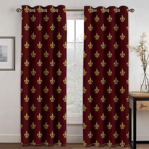FSMYQH Cortinas Salón Opacas Aislantes Térmicas Impresión marrón Cortinas Opacas para Ventanas Dormitorio Salón Moderno 234 x 137 cm