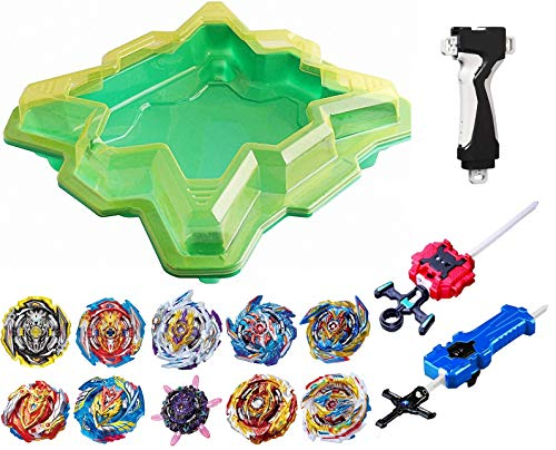 GiGimelon Complete Set Beystadium + 10Battling Tops + Stickers + Launchers, Burst Gyros Battle Set, Boys Kids Birthday Party Gift Idea