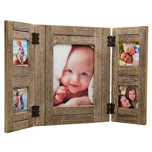 Excello Global Products Rustic Distressed Wood Collage Picture Frames: Holds 5 Photos: - EGP-HD-0012