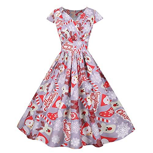 YESMAN Rockabilly - Vestido de cóctel para mujer, estilo vintage de los años 50, diseño de árbol de muñeco de nieve, falda plisada, elegante, una línea, vestido acampanado vintage, Rosa a, S