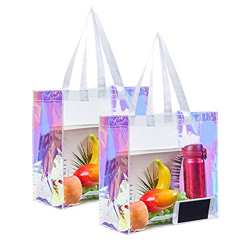 Clear Tote Bag, 2-Pack Stadium Approved Hologram Clear Bag, Great for Sports Games, Work, Security Travel, Stadium Venues or Concert, 12'X 12'X 6'