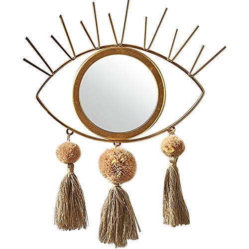 MOCOHANA Small Hanging Round Mirror with Macrame Fringe Tassels Art Boho Decorative Mirror Wall...