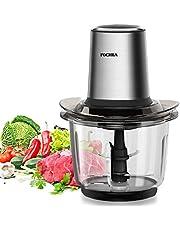 Fochea Elektrische hakmolen, 400 W, voor groenten, fruit en vlees, met 1,5 liter glazen houder, 2 snelheden