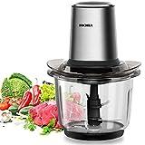 Zerkleinerer, FOCHEA 400W Elektrisch Zerkleinerer/Multi Zerkleinerer/Universalzerkleinerer/Gemüsezerkleinerer/Mixer für Gemüse, Obst & Fleisch mit 1,5 l Glasbehälter, 2 Geschwindigkeitsstufen