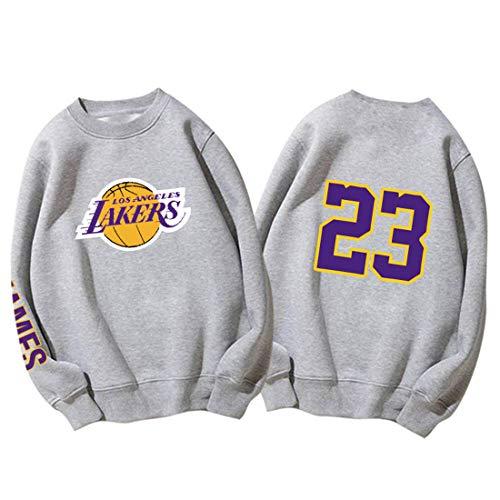 Lakers James Sudaderas de Baloncesto para Hombres y Mujeres Camisa de Manga Larga suéter de Cuello Redondo