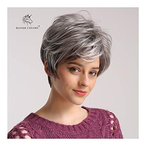 Charmant Human Hair Pruiken Grijs Mix zwart 8 inch Kort golvend haar Natrual Pruik Daily Dress for Women