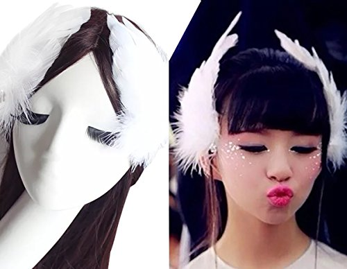 2PCS Girls Heart-shaped Feather Hair Clip Headpiece Party Hairpins Hair Barrettes Hair Accessory Bridal Wedding Feather Fascinator (White)