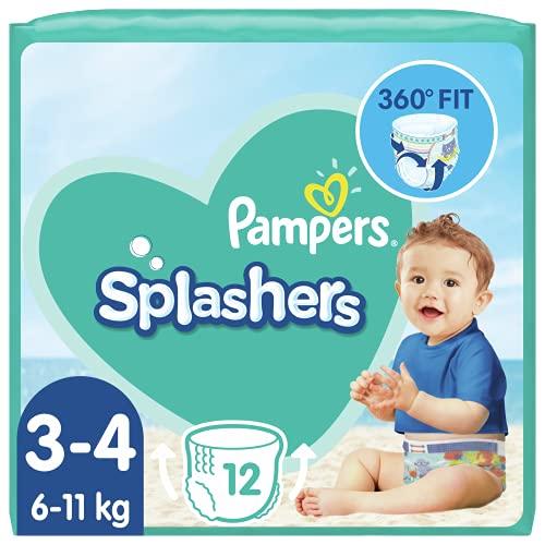Pampers - Pantalones de baño Splasher, Tamaño del paquete 3-4, 96 pañales (8x 12 pañales)