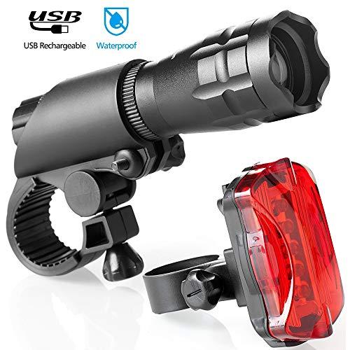 Foco Bicicleta, Luz De Bicicleta Recargable USB Linterna LED De 500 Lúmenes Luz De Bicicleta Impermeable IPX5,Black