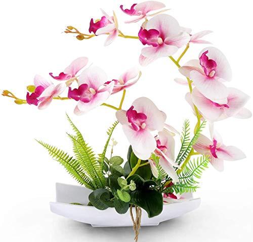 Yobansa Dekorative echte Berührung gefälschte Orchidee Bonsai künstliche Blumen mit Imitation Porzellan Blumentöpfe Phalaenopsis Blumenarrangements für Home Decoration (Pink 02)