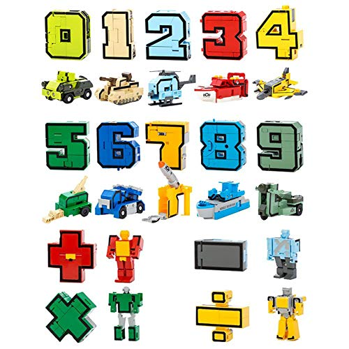 Navigatee Pack of 15 Robot Toys for Children Number Robot Transformer Toy Transformers Robot with Cognitive Numbers and Assembly Robot Preschool Education Toy Good