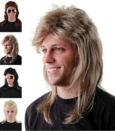 Lustige helle Blonde Vokuhila Perücke für Herren zu Fasching Karneval – graublonde 80er Jahre Bad Taste Proll Perücken Party Fokuhila