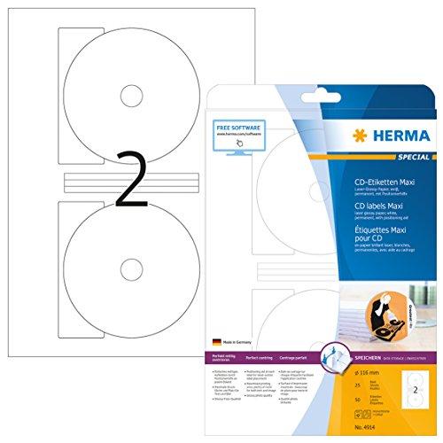 HERMA 4914 CD-/DVD-Etiketten inkl. Positionierhilfe DIN A4 (Ø 116 mm MAXI, 25 Blatt, Papier, glänzend) selbstklebend, bedruckbar, permanent haftende CD-Aufkleber, 50 Klebeetiketten, weiß