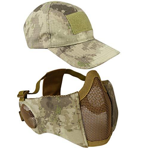 Airsoft Mesh Maske mit Ohrenschutz und verstellbarem Baseball Cap Set für CS/Jagd/Paintball / Shooting, AT
