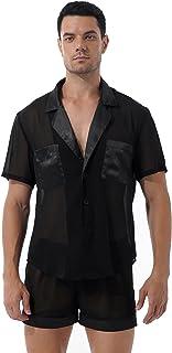 Choomomo Men's Silk Satin Pajamas Set Classic Sleepwear Loungewear Chiffon Button Shirt and Shorts