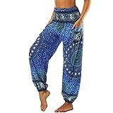 Nuofengkudu Mujer Pantalones Hippies Tailandeses Estampado Verano Cintura Alta Elastica con Bolsillos para Yoga Casual Azul Flor