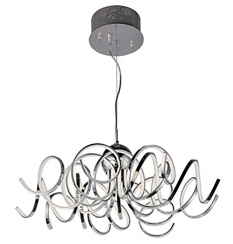ET2 E21415-PC Chaos LED Single Pendant, Polished Chrome Finish, Glass, PCB LED Bulb, 18W Max., Damp Safety Rated, 3000K Color Temp., Standard Triac/Lutron or Leviton Dimmable, Shade Material, 500 Rated Lumens