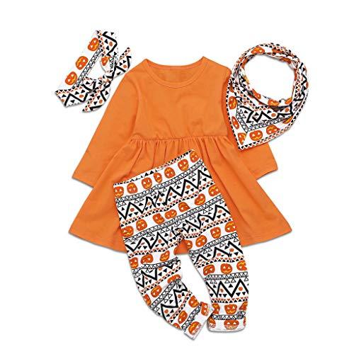 H.Eternal Conjunto de Ropa para nia, Camiseta de Manga Larga de Calabaza para nia + Conjunto de Pantalones + Babero para Disfraz de Halloween Naranja Naranja 4-5 Aos
