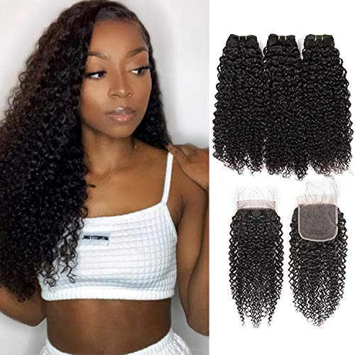 Curly Wave Human Hair 3 Bundles with Lace Closure 100% Unprocessed Brazilian Jerry Curly Virgin Hair Weave Bundles with 4x4 Hair Closure Natural Black Color (12'14'16' with 10') 90g/Bundle