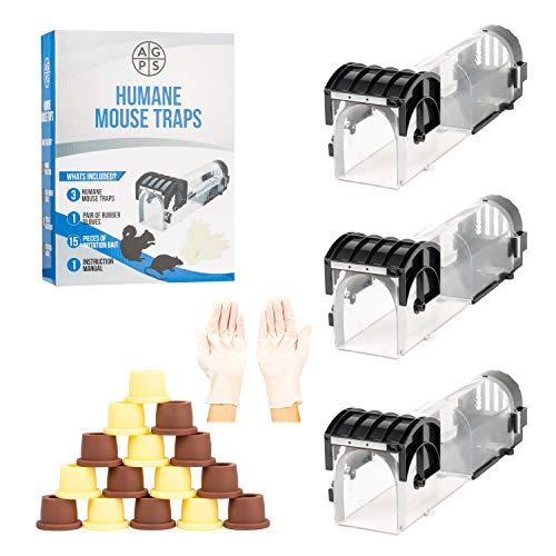 AG Product Supplies Humane Mouse Traps, Rat, Muizen, Binnen, Knaagdier, 3 Pack, 32cm, Herbruikbaar, Buiten en Slaapkamer, Vang en Uitgeven, Pest, Eekhoorn, Ongediertebestrijding, Zwart, Kinderen Vriendelijk.