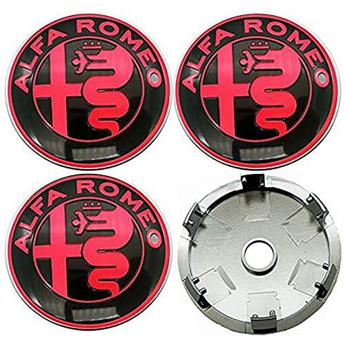 WCLOC Tapa De Cubo De Centro De Rueda De 4 Piezas para Alfa Alpha Romeo 159 147 156 Mito Giulietta, Cubierta De DecoracióN De Rueda De Coche Impermeable A Prueba De Polvo con Logotipo, 60MM
