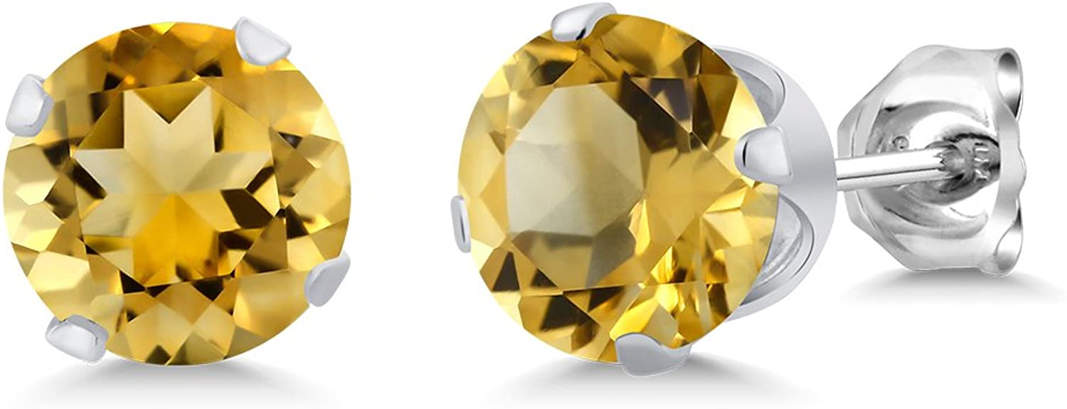 1.40 Ct 6MM Round Yellow Citrine 925 Sterling Silver Gemstone Birthstone 4Prong Stud Earrings