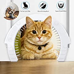 CAT DOOR WITH GROOMING BRUSH: Brush collects loose cat hair when it sheds on every pass-through hole, improving the overall cleanliness of your home. The brush can be easily removed for quick dust off. QUICK AND EASY INSTALLATION: Use the template to...