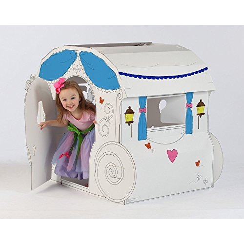 """My Very Own House Cardboard Coloring Playhouse Princess Carriage, 40"""" H x 58.5"""" L x 32"""" W"""