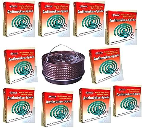 Hs24store 100 Insektenspiralen Anti Mücken Spirale und Metalltopf Metallhalter Bronze