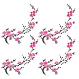 Siness Buying 4 pcs of Pink Sakura Cherry Blossom Embroidery Flowers Iron on Patches Applique Patches for Wedding Dress Arts Crafts DIY Decor,Jeans,Sweater T Shirt(Pink Color, 4pcs)