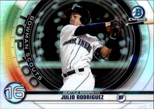2020 Bowman Chrome Scouts Top 100#BTP-16 Julio Rodriguez Seattle Mariners RC Rookie MLB Baseball Trading Card