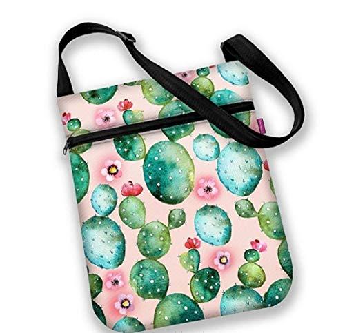 Stofftasche Joy Kaktus Stoff Kodura wasserfest Laptop Tasche Umhängetasche Motiv Kakteen Blüten grün rot rosa