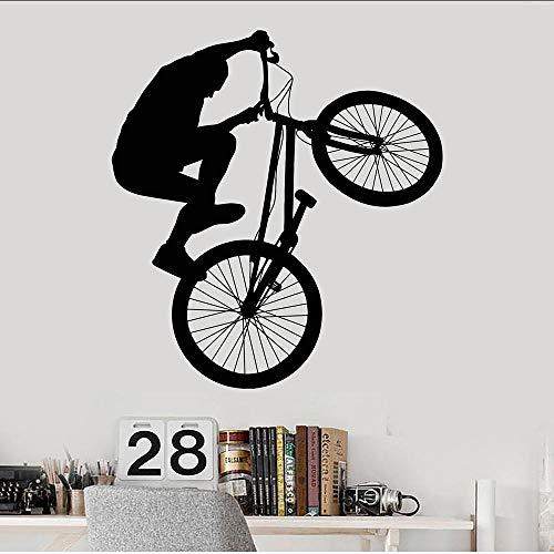 Bmx bicicleta adolescente habitación deportes extremos vinilo pared pegatina hogar dormitorio decoración arte Mural pared calcomanía extraíble 58X63Cm