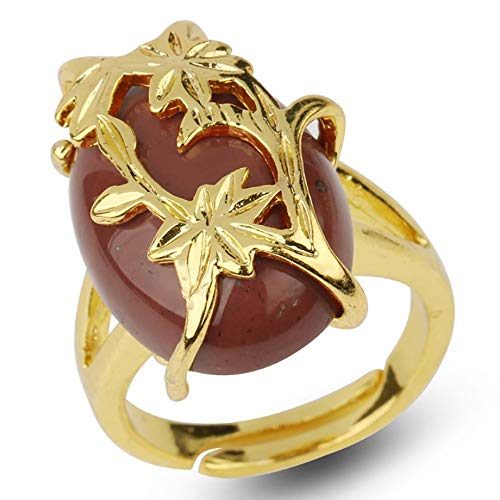 adjustable ring for women,Golden flower leaf inlaid oval natural Red Jasper Aura Stone Charm Adjustable Open Knuckle Tail Ring Finger Joint Toe Ring Jewelry for Women Girls Gift Wedding engagement M