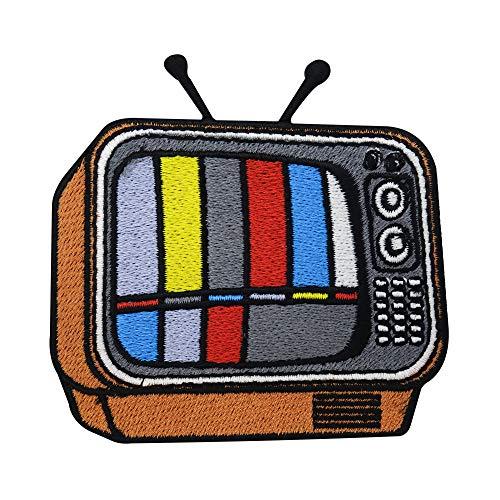 Finally Home Oranger Retro Fernseher Patch zum Aufbügeln   Vintage Patches, Bunte Old School Bügelflicken, Flicken, Aufnäher für Jeansjacken und andere Kleidung