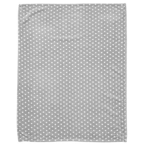 Alvi Microfaser Decke - Kuscheldecke 75x100 cm Stars silber 608-9