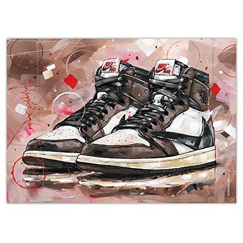 Air Jordan 1 High Travis Scott (cordones negros) impresión (50 x 70 cm), sin marco