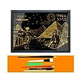 YWXKA Regenbogen-Malerei Skizze Papier, DIY City Series Nachtszene, Scratch Gemälde, kreatives Geschenk für Erwachsene und Kinder mit 6 Werkzeuge (dem Alten Ägypten) -