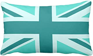Wecye Turquoise and Teal Union Jack 2 Throw Pillow Case Cushion Cover 20