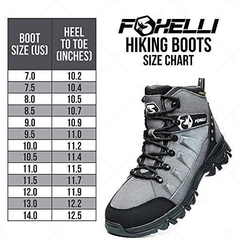 Foxelli Men's Hiking Boots – Waterproof Suede Leather Hiking Boots for Men, Breathable, Comfortable & Lightweight Hiking Shoes