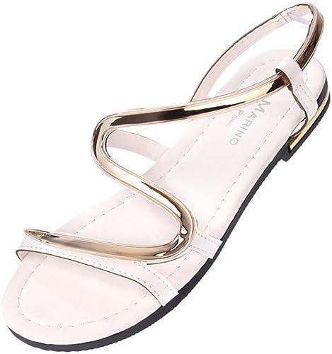 NVLXIE Sandales de Les Les dames Séquelles d'été Style Bohème Plat Basse Loisirs Confortable Etudiants Tourisme Plage Noir 1cm