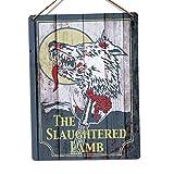 YFULL Toasted Merch Slaughtered Lamb Metal Wall Sign Plaque Art Replica Bar Pub Sign American Werewolf (Medium - Twine)