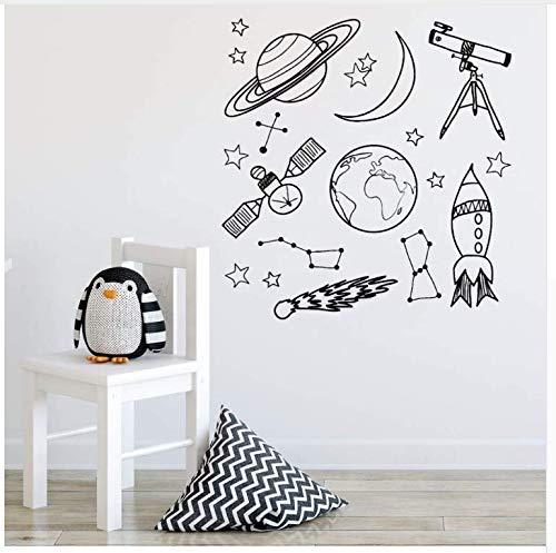 Etiquetas De La Pared Del Espacio Para La Habitación Del Niño Etiqueta De La Pared Del Espacio Exterior Telescopio Rocket Ship Stars Vinyl Decal 56 * 58Cm